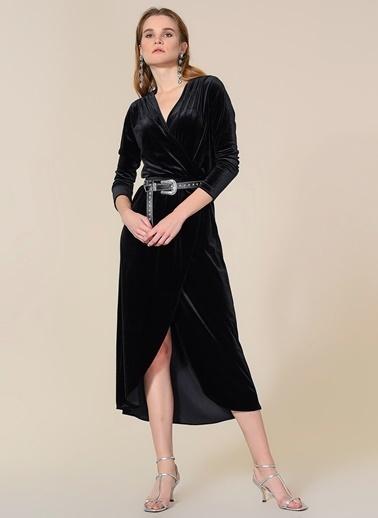 Agenda Kadife Anvelop Elbise Siyah